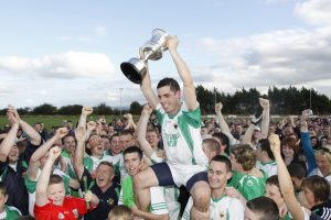 Victory after 47 Years. Kanturk captain, John Healy proudly lifts the Duhallow Junior A trophy after Kanturk defeated Rockchapel in a historic victory at Boherbue. Photo by Patrick Casey